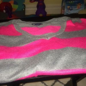 GAP Luxe Pink and Gray Sweater